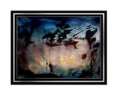 LEONARDO NIERMAN Original Signed OIL PAINTING on BOARD Abstract Art CITY Large