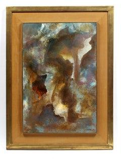 Original Leonardo Nierman Abstract Painting Oil on Masonite Framed Purple