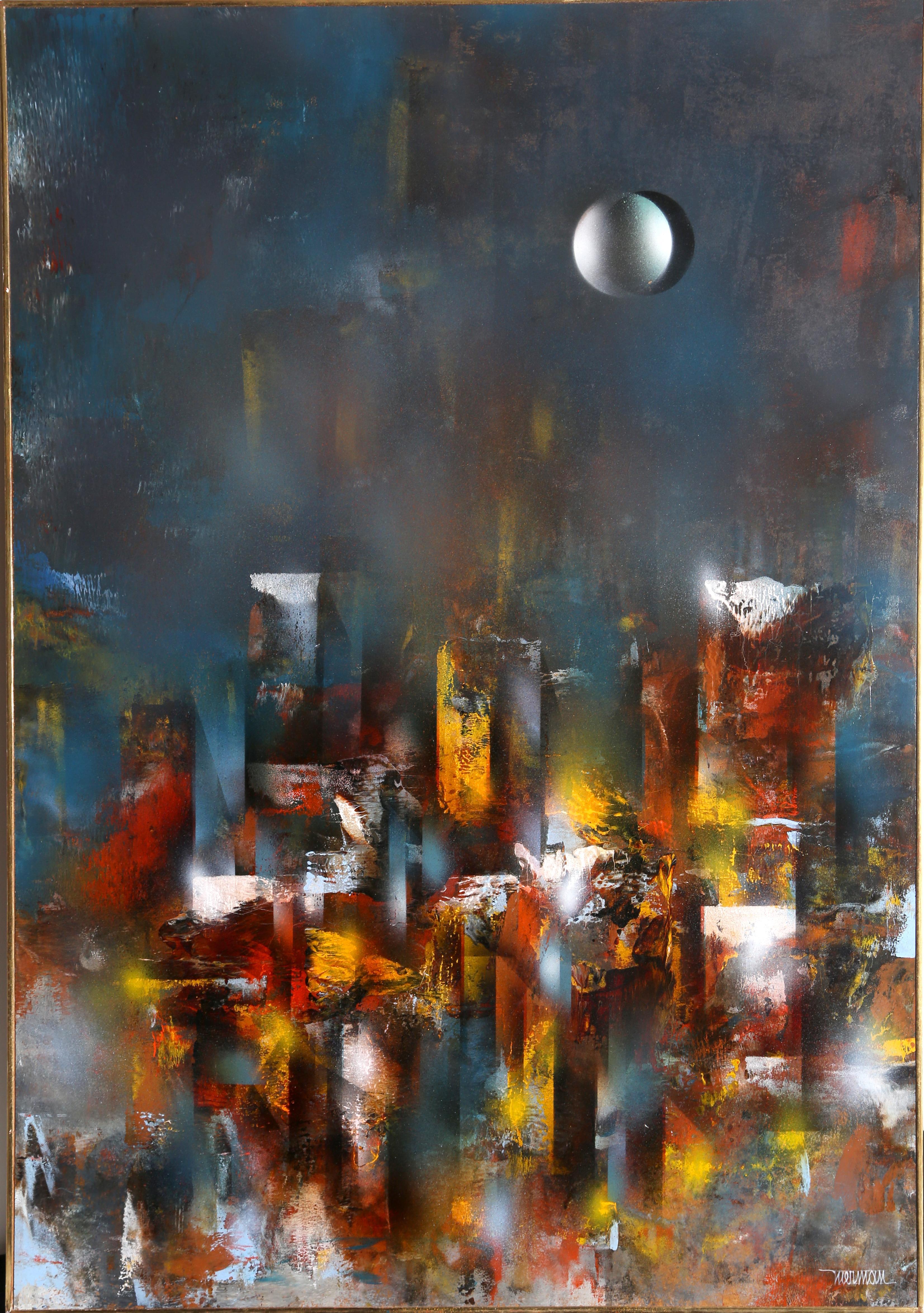 Ruins, Large Abstract City Painting by Leonardo Nierman