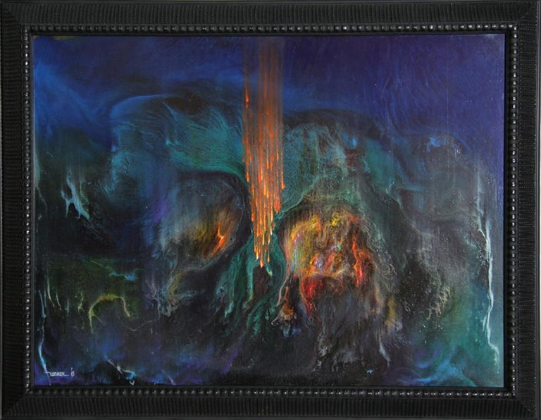 Artist: Leonardo Nierman Title: Un Fuego Magico (Variation)  Year: 1965 Medium:Oil on Masonite, signed and dated l.r. Size: 24 x 31.5 inches  Frame: 28 x 36 inches