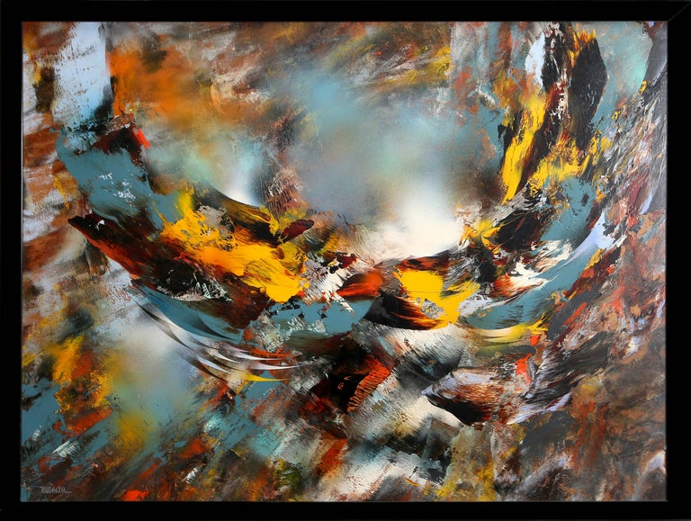An oil painting by Leonardo Nierman from 1970. An abstract expressionist painting of wispy colorful strokes in bold, contrasting colors.   Artist: Leonardo Nierman, Mexican (1932 - ) Title: Viento de Otono (Autumn Wind) Year: circa 1970 Medium: Oil