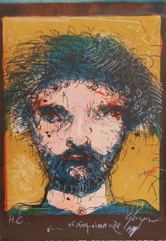 Portrait of a Man, Lithograph by Leonel Gongora