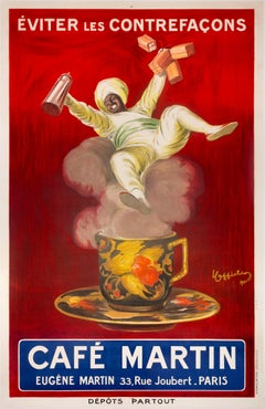 """Cafe Martin"" large Original Vintage Turkish Coffee Poster 1920s"