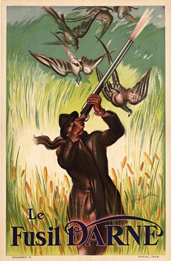 Le Fusil Darne original French antique shotgun poster