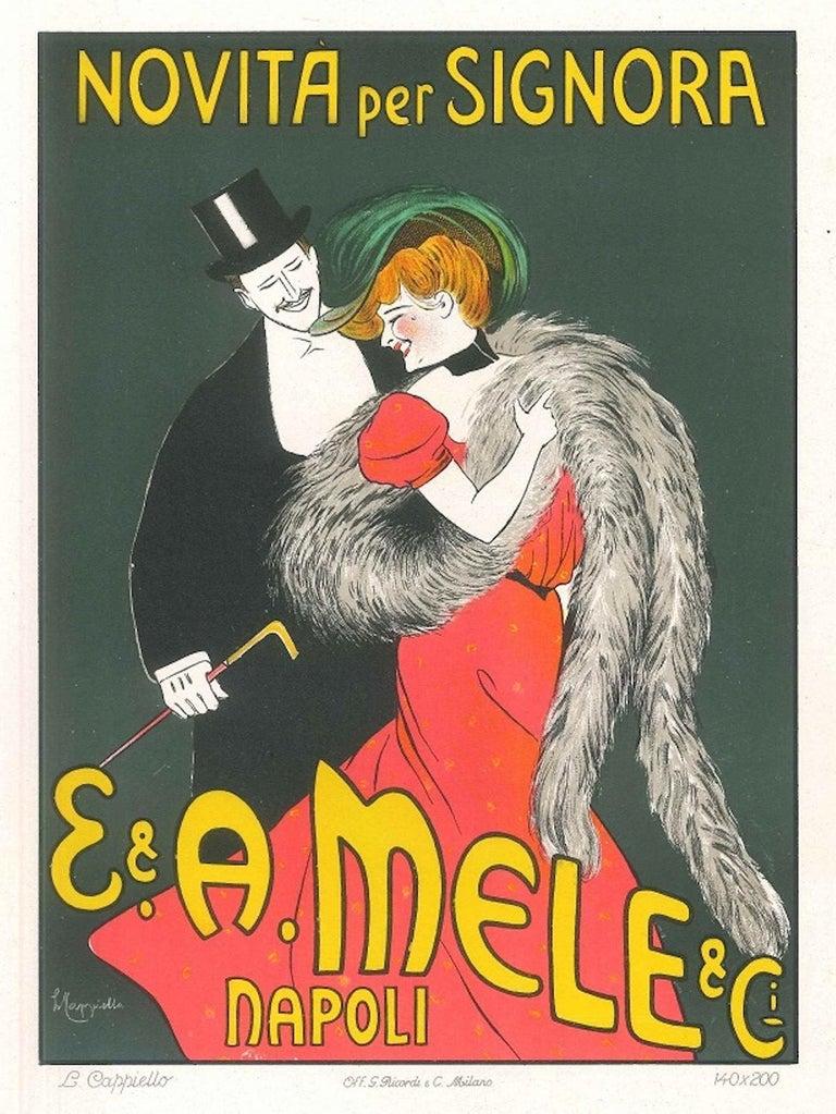 Leonetto Cappiello Figurative Print - Novità per Signora - Original Advertising Lithograph by L. Cappiello - 1903 ca.
