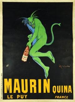 Original Antique Drink Poster Maurin Quina Le Puy France Aperitif Green Devil