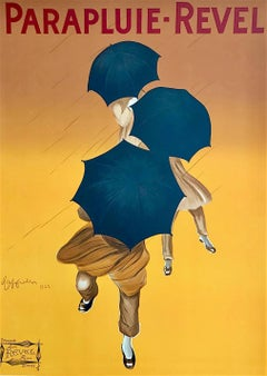 Parapluie Revel, French Umbrellas Hand Drawn Lithograph, Oversize Art Poster 52""