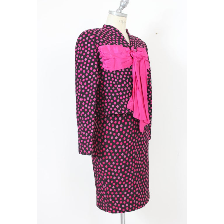 Women's Leonia Polvani Black Fuchsia Wool Polka Dot Bow Suit Skirt And Jacket 1980s For Sale