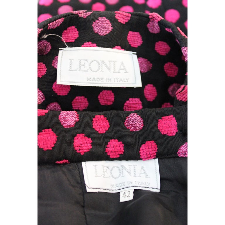 Leonia Polvani Black Fuchsia Wool Polka Dot Bow Suit Skirt And Jacket 1980s For Sale 3