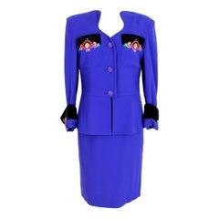 Leonia Polvani Blue Wool Velvet Floral Strass Evening Skirt Suit 1980s