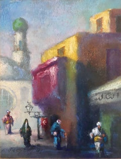 Orientalist Cairo Market Street Scene, Middle Eastern Bazaar