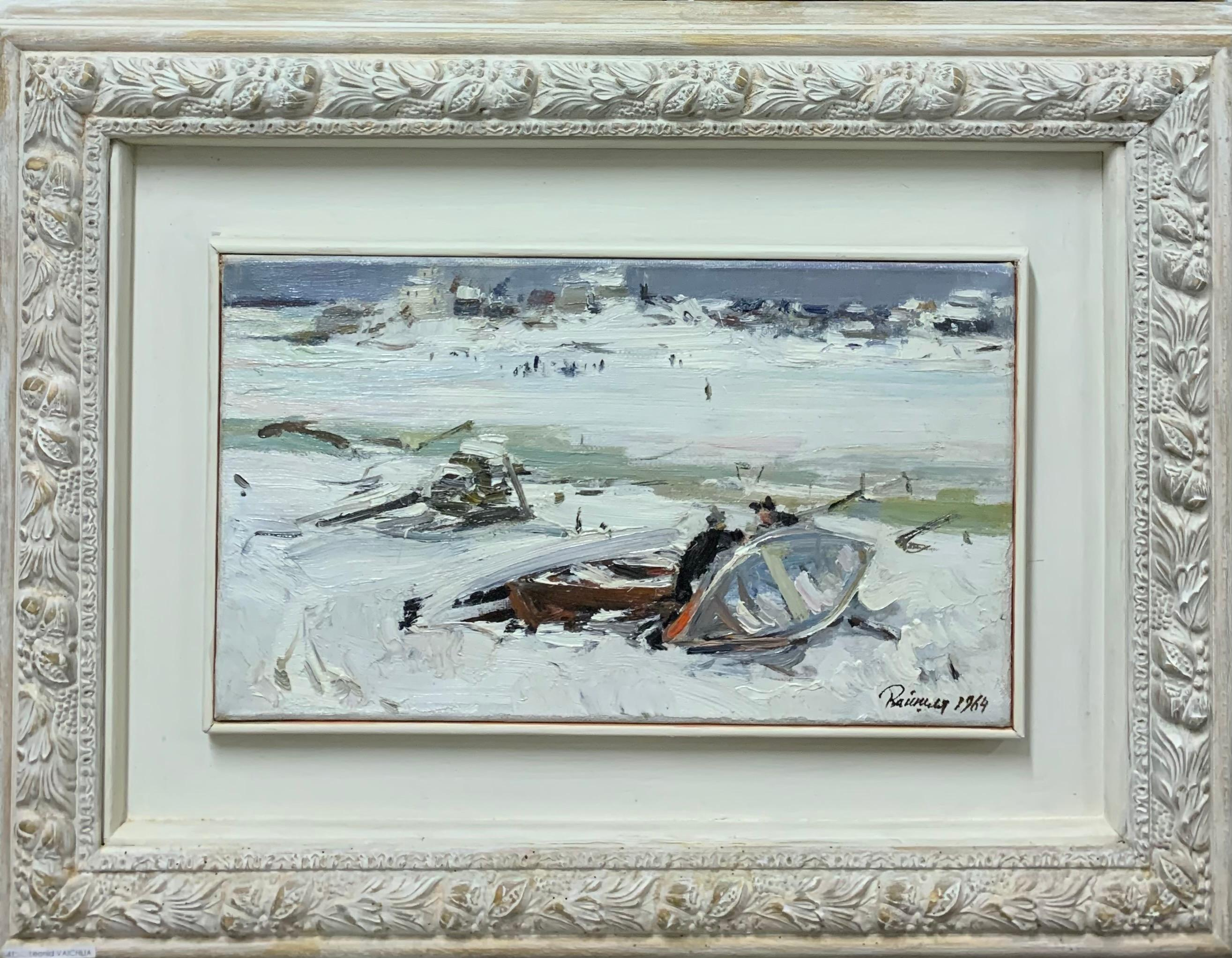 """Boats on the frozen lake"" oil cm. 25 x 26 1964 Winter,White,Snow,Russia"