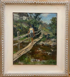 """""""Bridge over the brook""""Woman, Countryside, Green Oil cm.43 x 51 1972"""