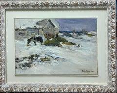 """Horses in the yard"" Olio cm. 34 x 49 1967 Winter,Snow,White"