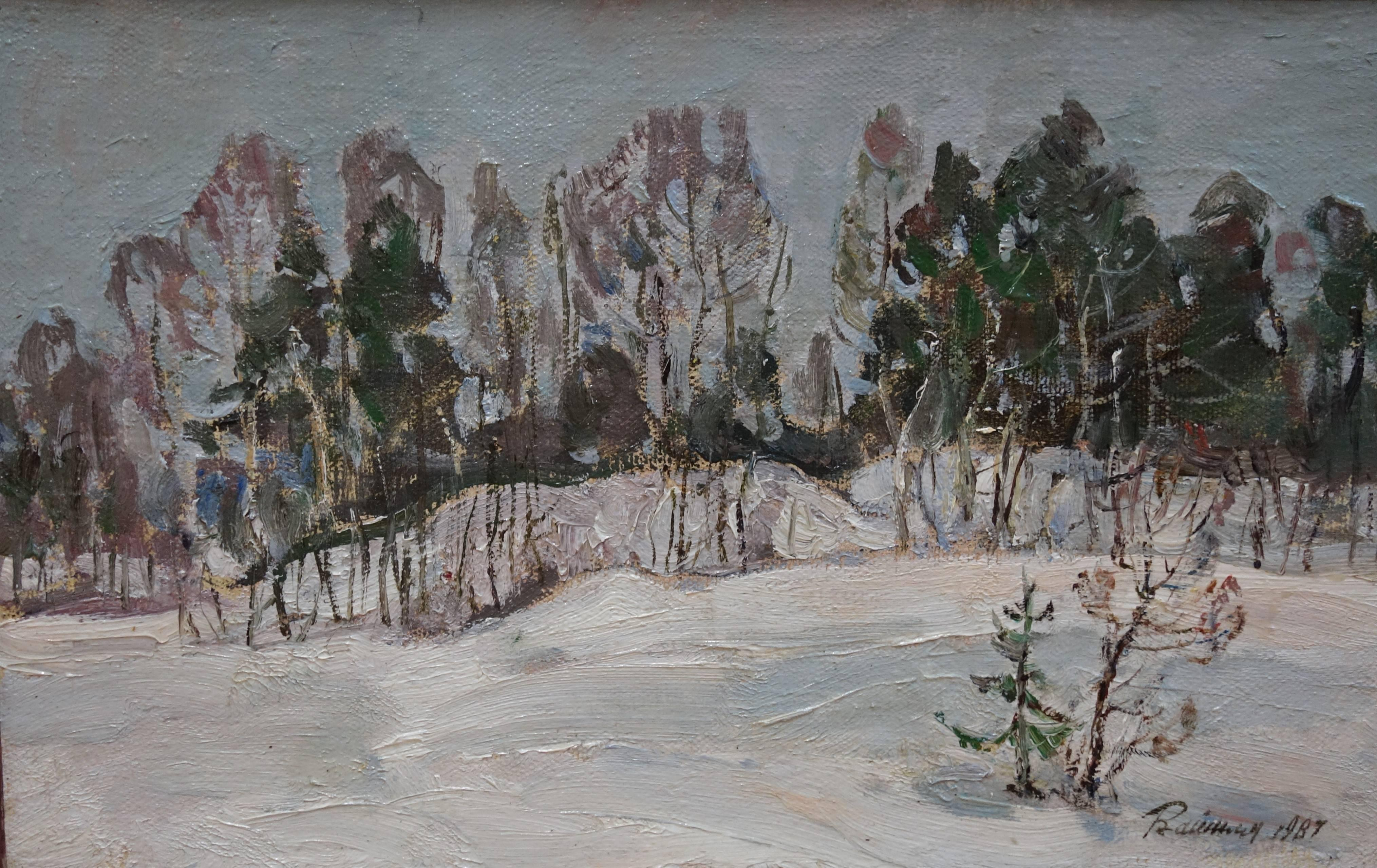 """""""Near the forest"""" Snow, Forest, Winter, White Oil  cm. 46 x 30   1987"""
