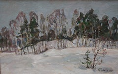 """Near the forest"" Snow, Forest, Winter, White Oil  cm. 46 x 30   1987"