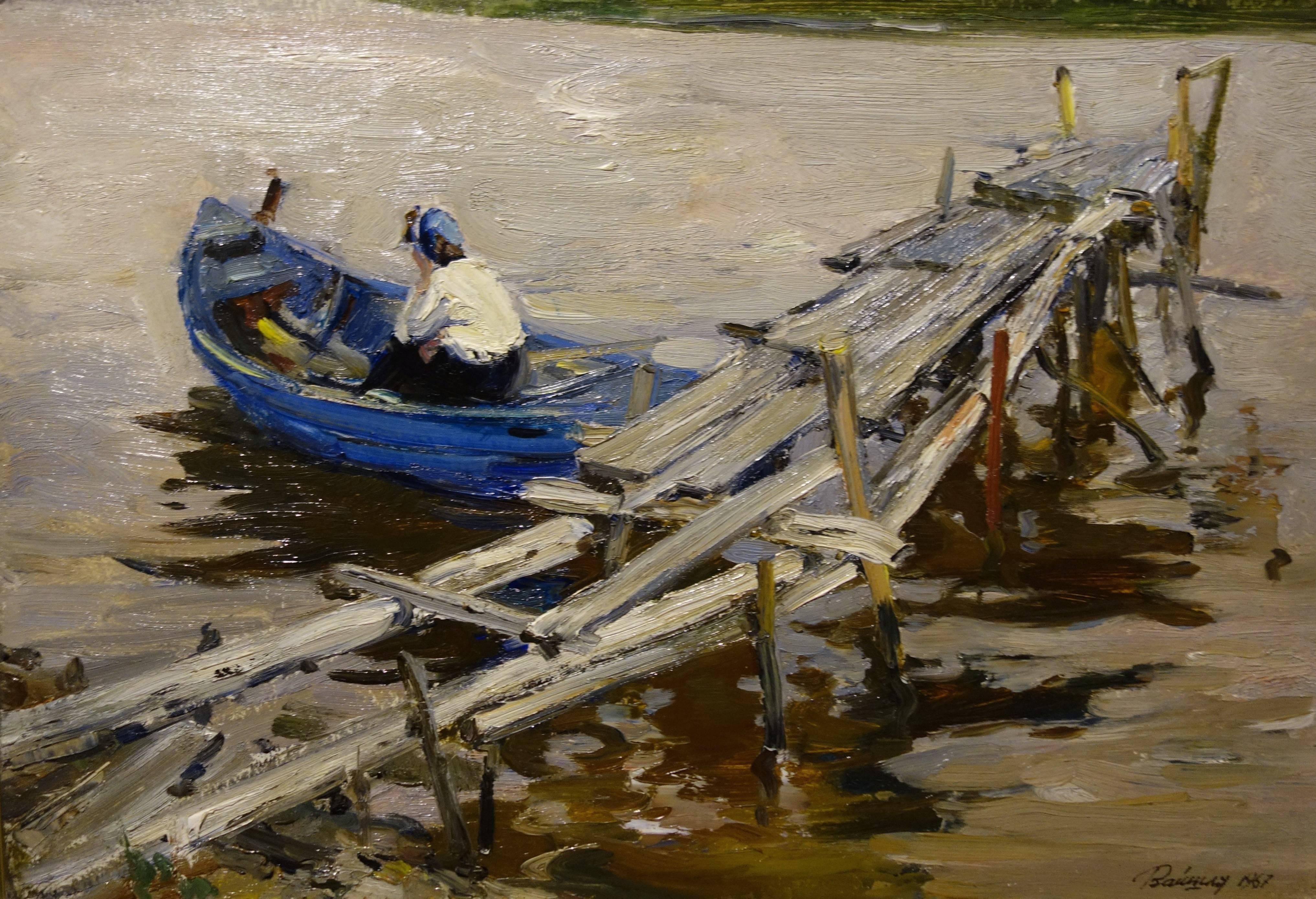 Pier on the lake  Oil on wood   cm. 70 x 47  1967