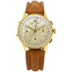 Leonidas Triple Calendar Chronograph, 18 Karat Yellow Gold, 1950s