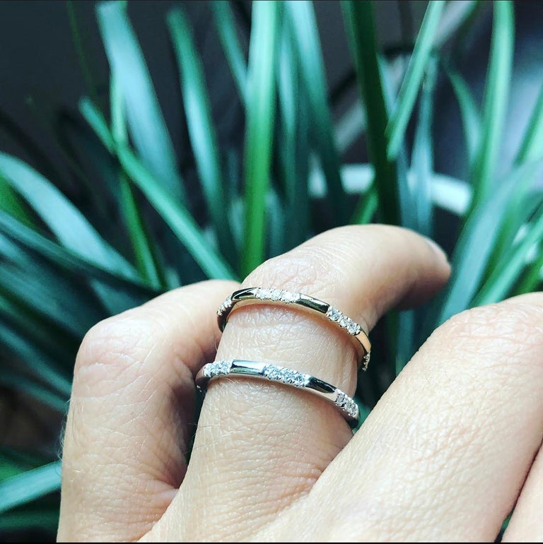 Brilliant Cut Leonie Ring with White Diamonds in Rose Gold by Selin Kent For Sale
