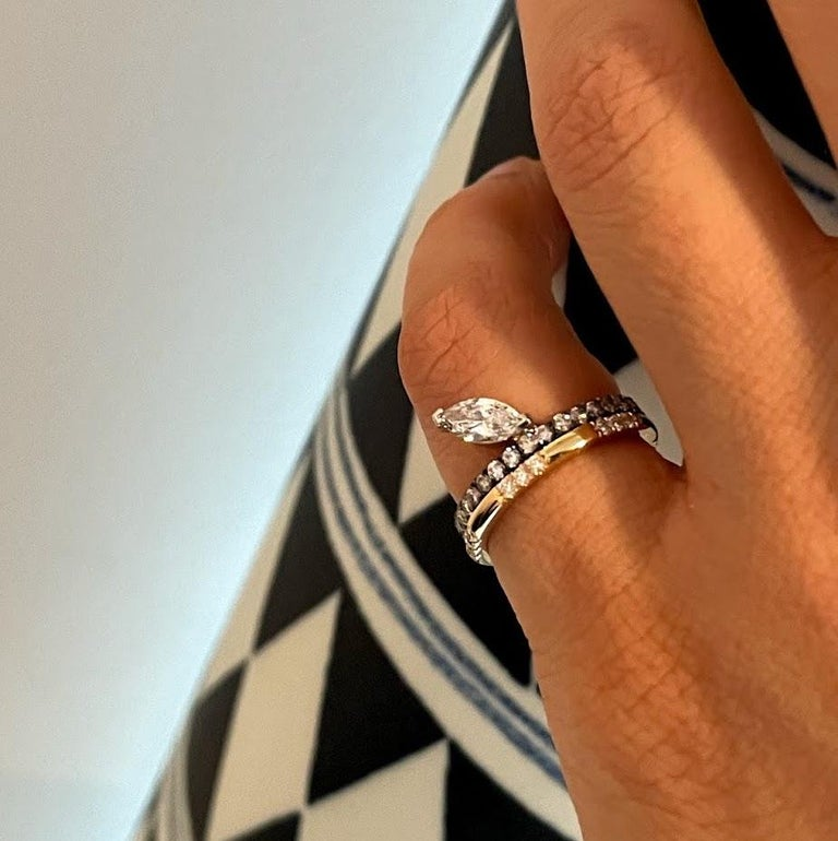 Leonie Ring with White Diamonds in Yellow Gold by Selin Kent In New Condition For Sale In New York, NY