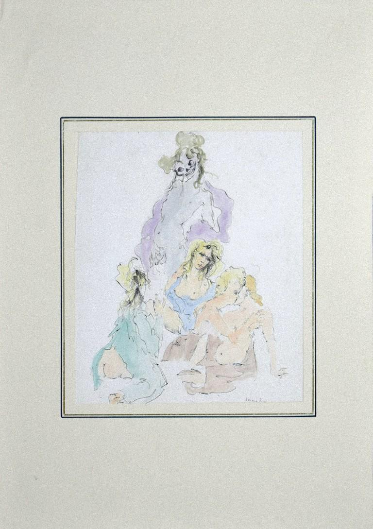 Allegorical Figures - Hand-colore Etching on Paper by Leonor Fini - 20th Century For Sale 1