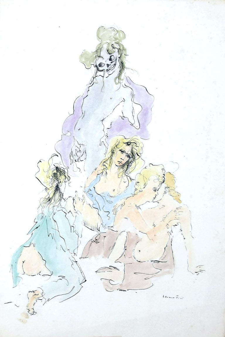 Allegorical Figures is original hand-colored etching on paper, realized by Leonor Fini.  Signed on the lower right.  In very good condition.  Included a Passepartout:  50 x 35 cm.  The artwork represents allegorical figures in an erotic scenery