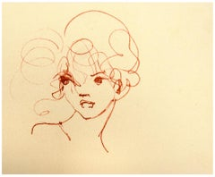 Bust - Original Lithograph on Cardboard by Leonor Fini - 20th Century