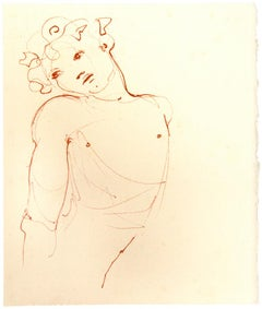 Bust - Original Lithograph on Cardboard by Leonor Fini - Mid-20th Century
