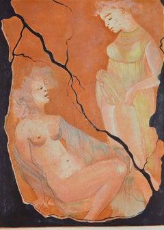 Erotic Scene - Original Lithograph by Leonor Fini - 1970s