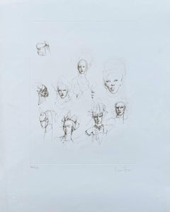 Faces study - Original Etching Handsigned Numbered