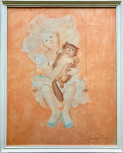 Framed Leonor Fini Lithograph, Young Girl With Her Cat, Numbered 28/145