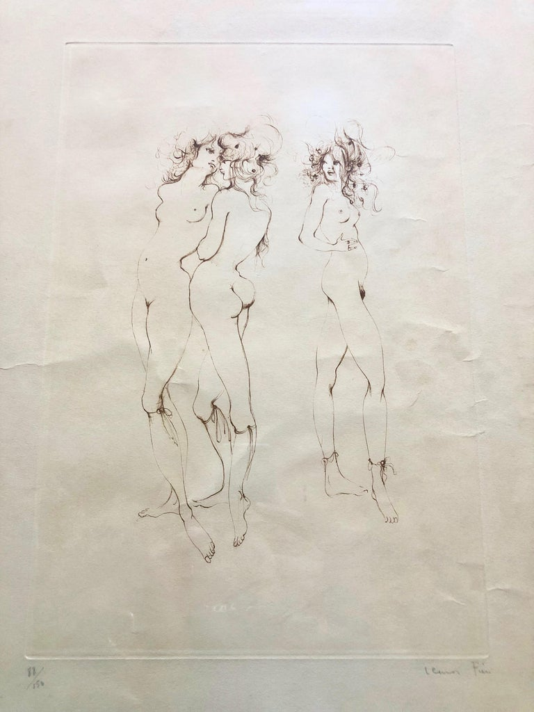 Framed, Signed And Numbered Etching By Leonor Fini, Three Naked Women 88/150 - Gray Nude Print by Leonor Fini