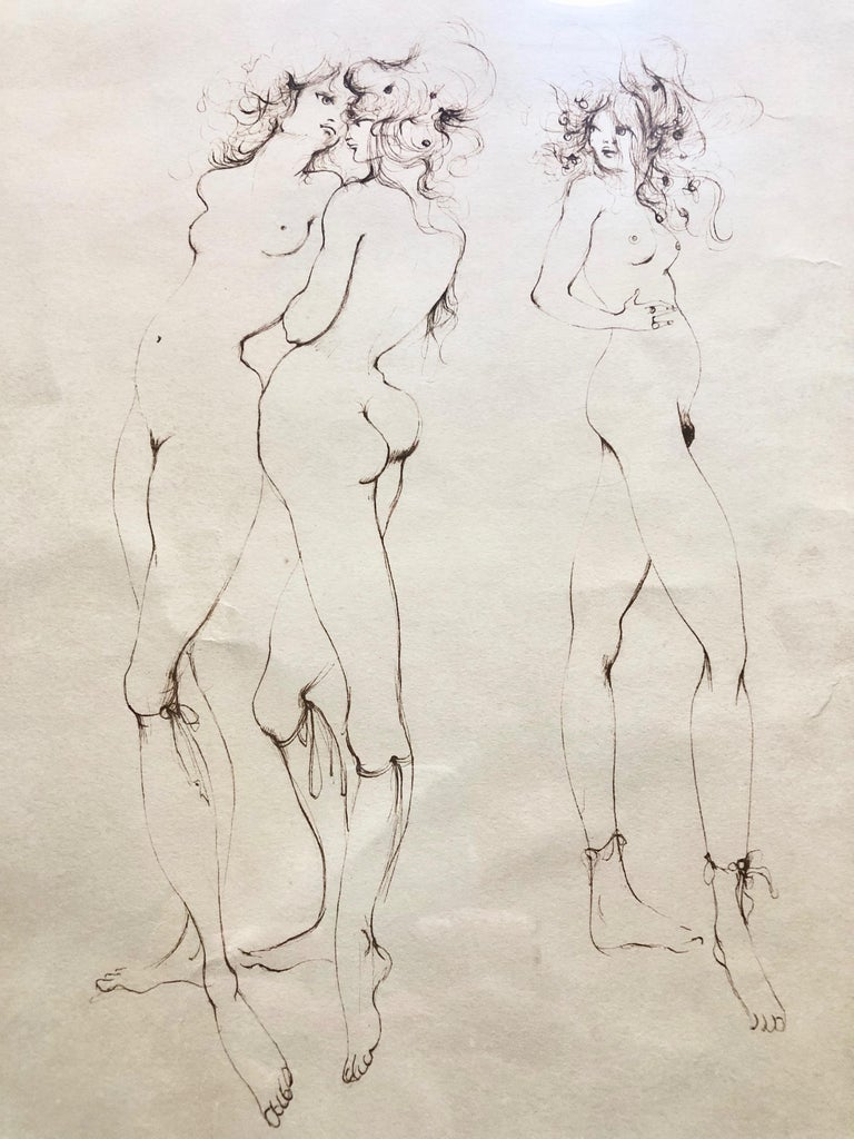 Framed, Signed And Numbered Etching By Leonor Fini, Three Naked Women 88/150 For Sale 2