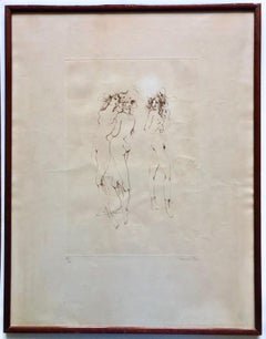 Framed, Signed And Numbered Etching By Leonor Fini, Three Naked Women 88/150