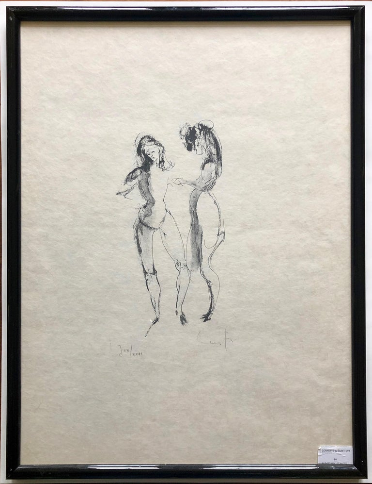 Framed, Signed Etching By Artist Leonor Fini, Two Women, Numbered J IX/XXVI - Gray Nude Print by Leonor Fini