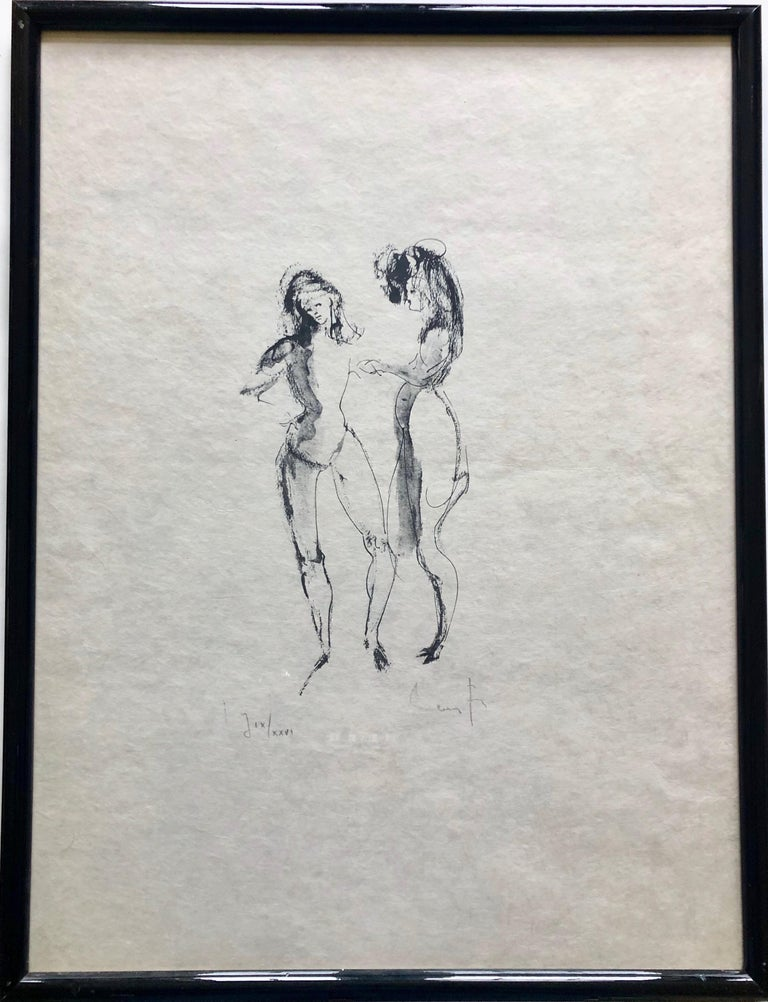 Framed, Signed Etching By Artist Leonor Fini, Two Women, Numbered J IX/XXVI For Sale 2
