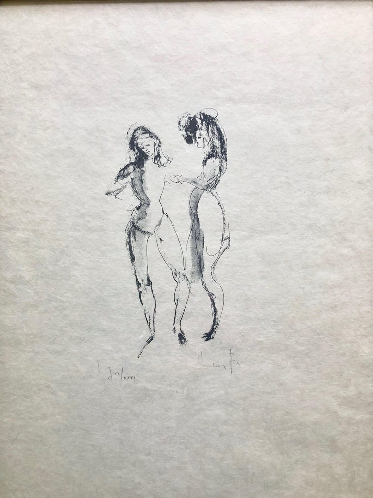Framed, Signed Etching By Artist Leonor Fini, Two Women, Numbered J IX/XXVI For Sale 3