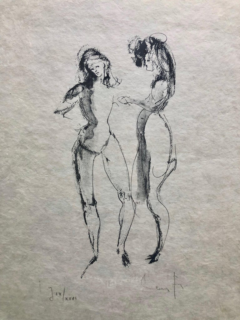 Framed, Signed Etching By Artist Leonor Fini, Two Women, Numbered J IX/XXVI For Sale 4