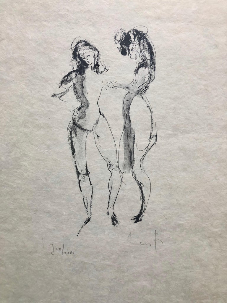 Framed, Signed Etching By Artist Leonor Fini, Two Women, Numbered J IX/XXVI - Print by Leonor Fini