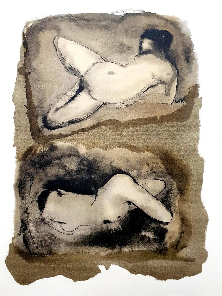 Leonor Fini - Duo - Original Lithograph - Brown Nude Print by Leonor Fini