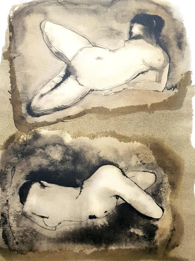 Leonor Fini - Duo - Original Lithograph The Flowers of Evil 1964 Conditions: excellent Edition: 500  Dimensions: 46 x 34 cm  Editions: Le Cercle du Livre Précieux, Paris  Leonor Fini is considered one of the most important women artists of the
