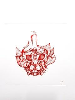 Leonor Fini - Red Cat Imagination - Original Etching