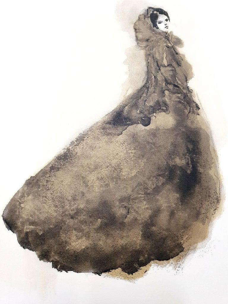 Leonor Fini - Saturday Night Dress - Original Lithograph - Beige Nude Print by Leonor Fini