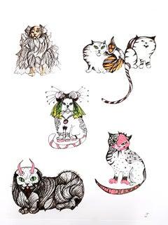 Leonor Fini - Surrealistic Cats - Original Etching
