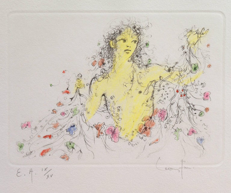 Signed lower right, 'Leonor Fini' and inscribed lower left, 'E. A.' (Epreuve d'Artist) with number and limitation 9/15.  A seminal figure in the early Surrealist movement, Fini maintained an original and evolving style over a long and storied
