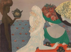 Parques Hôtel, Leonor Fini Lithograph with Watercolor