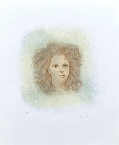 Portrait of Young Girl - Original Lithograph Handsigned