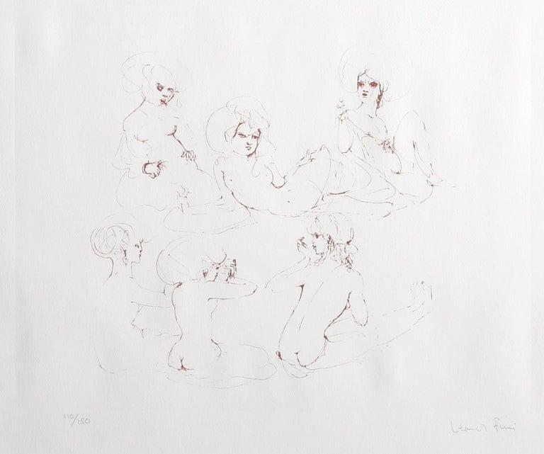 Six Nudes - Gray Figurative Print by Leonor Fini