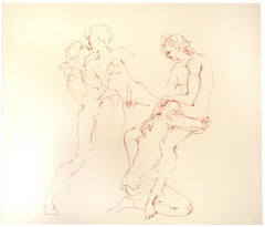 The Couple - Original Lithograph on Cardboard by Leonor Fini - 20th Century