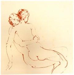 The Couple - Original Lithograph on Cardboard by Leonor Fini - Mid-20th Century